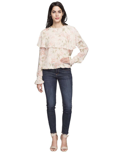 Women's Rayon Beige Regular Fit Blouse Cottonworld Women's Tops
