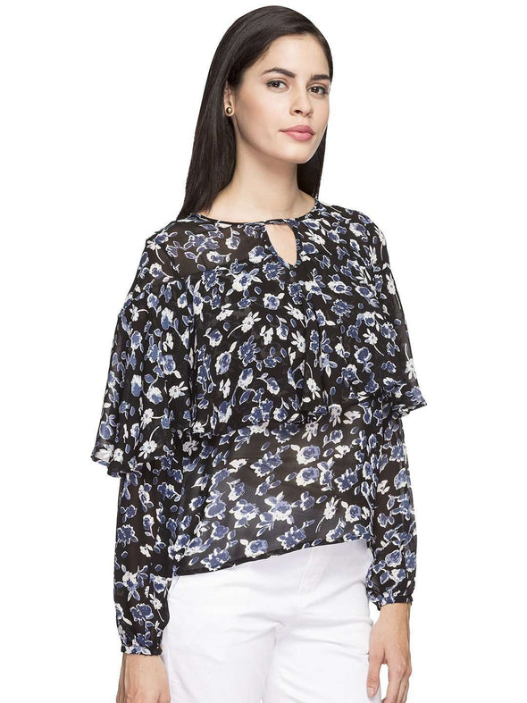 Women's Rayon Black/1 Regular Fit Blouse Cottonworld Women's Tops