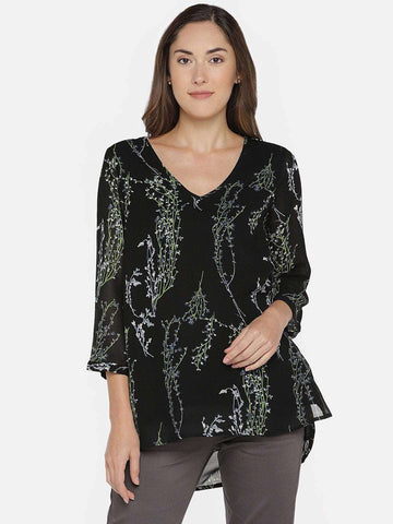 Cottonworld Women's Tops Women's 100% RAYON BLACK REGULAR FIT BLOUSE