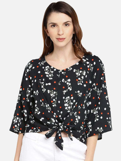 Women'S 100% Rayon Black Regular Fit Blouse