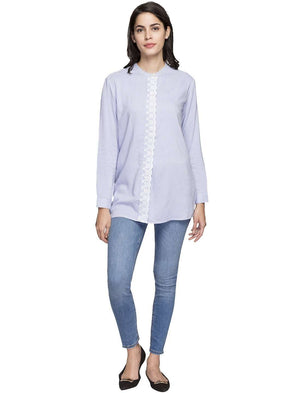 Cottonworld Women's Tops WOMEN'S 100% RAYON BLUE REGULAR FIT BLOUSE