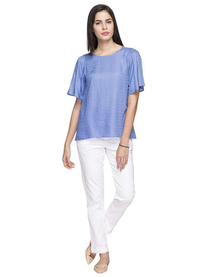 Cottonworld Women's Tops WOMEN'S 100% RAYON LIGHT BLUE REGULAR FIT BLOUSE