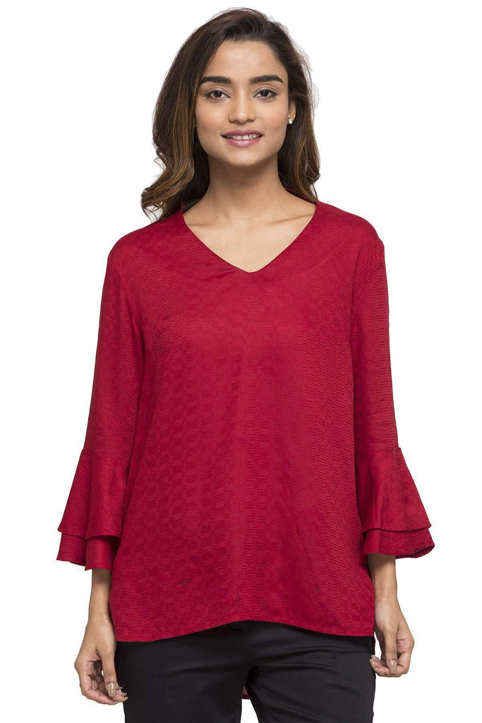 Cottonworld Women's Tops WOMEN'S 100% RAYON MAROON REGULAR FIT BLOUSE