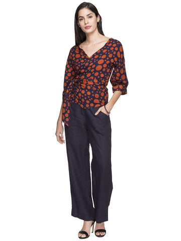 Cottonworld Women's Tops WOMEN'S 100% RAYON RED REGULAR FIT BLOUSE
