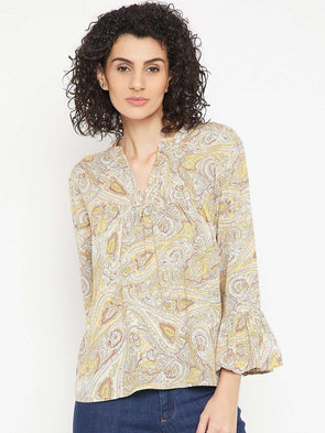 Cottonworld Women's Tops WOMEN'S 100% RAYON YELLOW REGULAR FIT BLOUSE