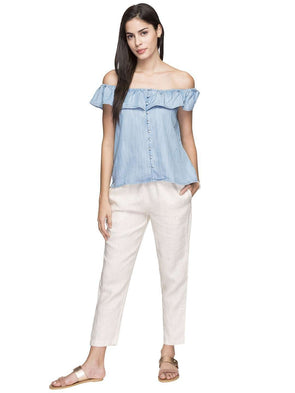 Women's Tencel Blue Regular Fit Blouse Cottonworld Women's Tops