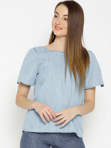 Cottonworld Women's Tops WOMEN'S 100% TENCEL BLUE REGULAR FIT BLOUSE