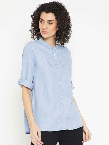 eab1f769ec Cotton Dresses Online India. Cottonworld Women s Tops WOMEN S 100% TENCEL  BLUE REGULAR FIT BLOUSE