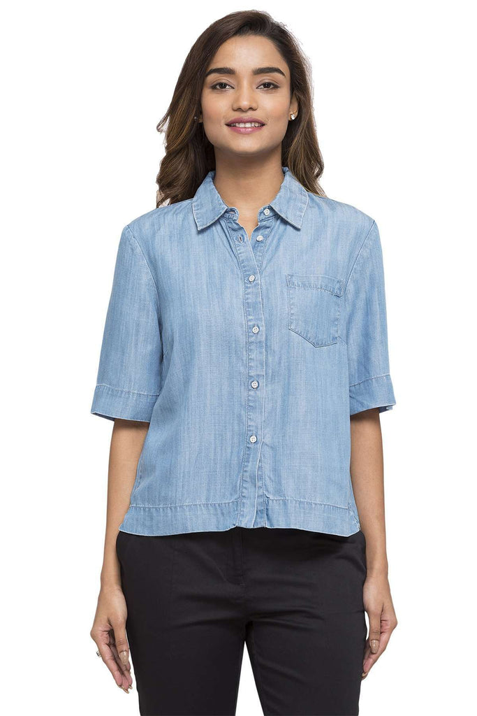 Cottonworld Women's Tops WOMEN'S 100% TENCEL DENIM BLUE REGULAR FIT BLOUSE