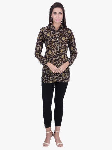 Cottonworld Women's Tops WOMEN'S 100% VISCOSE BLACK REGULAR FIT BLOUSE