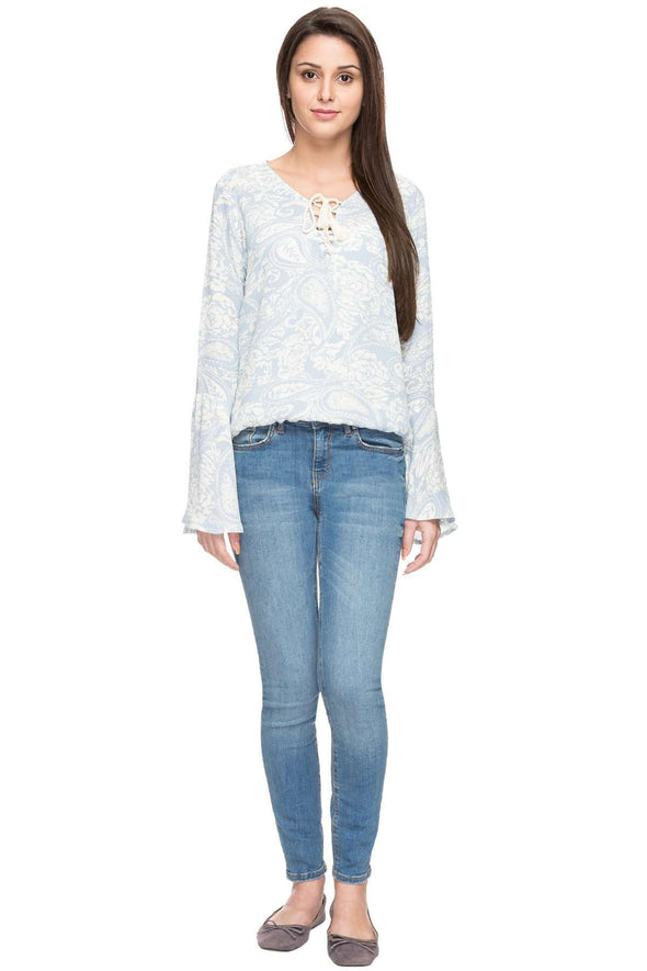 Cottonworld Women's Tops WOMEN'S 100% VISCOSE BLUE REGULAR FIT BLOUSE