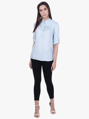 Cottonworld Women's Tops WOMEN'S 100% VISCOSE LIGHT BLUE BLOUSE