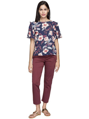 Cottonworld Women's Tops WOMEN'S 100% VISCOSE NAVY REGULAR FIT BLOUSE
