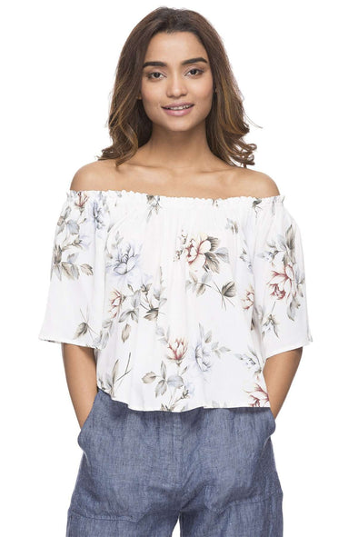 Cottonworld Women's Tops WOMEN'S 100% VISCOSE WHITE REGULAR FIT BLOUSE