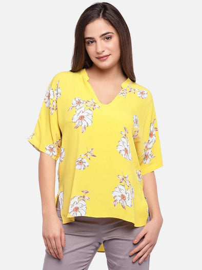 Women's Viscose Yellow Regular Fit Blouse Cottonworld Women's Tops