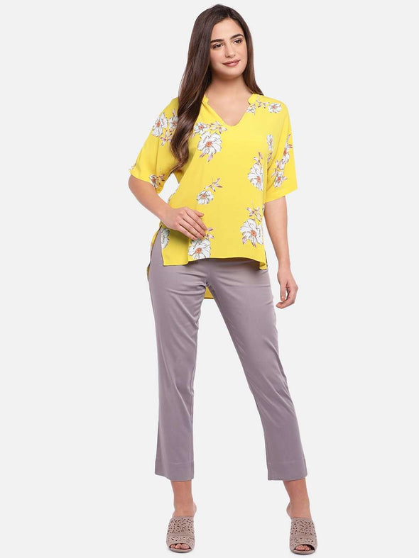 Cottonworld Women's Tops WOMEN'S 100% VISCOSE YELLOW REGULAR FIT BLOUSE