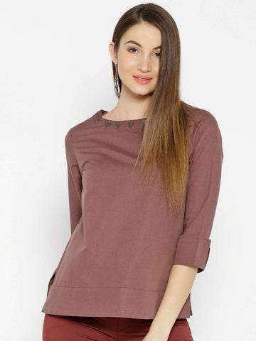 Cottonworld Women's Tops WOMEN'S 55% LINEN 45% COTTON BROWN REGULAR FIT BLOUSE