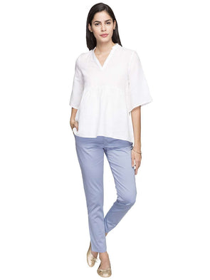 Cottonworld Women's Tops WOMEN'S 55% LINEN 45% COTTON WHITE REGULAR FIT BLOUSE