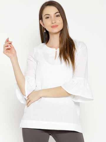 a970ae63ca Cottonworld Women s Tops WOMEN S 55% LINEN 45% COTTON WHITE REGULAR FIT  BLOUSE