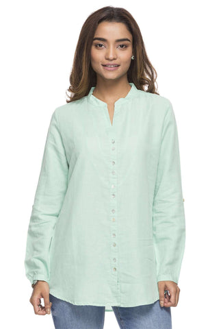 Cottonworld Women's Tops WOMEN'S 65% LINEN 35% COTTON MINT BLOUSE
