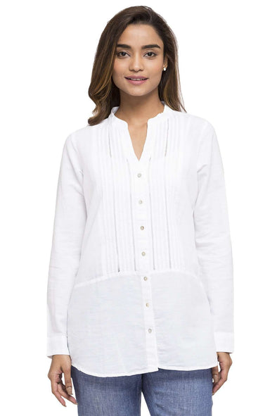 Cottonworld Women's Tops WOMEN'S 65% LINEN 35% COTTON WHITE REGULAR FIT BLOUSE