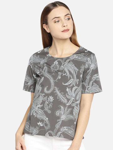 2059acc1ca Cottonworld Women s Tops WOMEN S 98% COTTON 2% LYCRA GREY REGULAR FIT BLOUSE