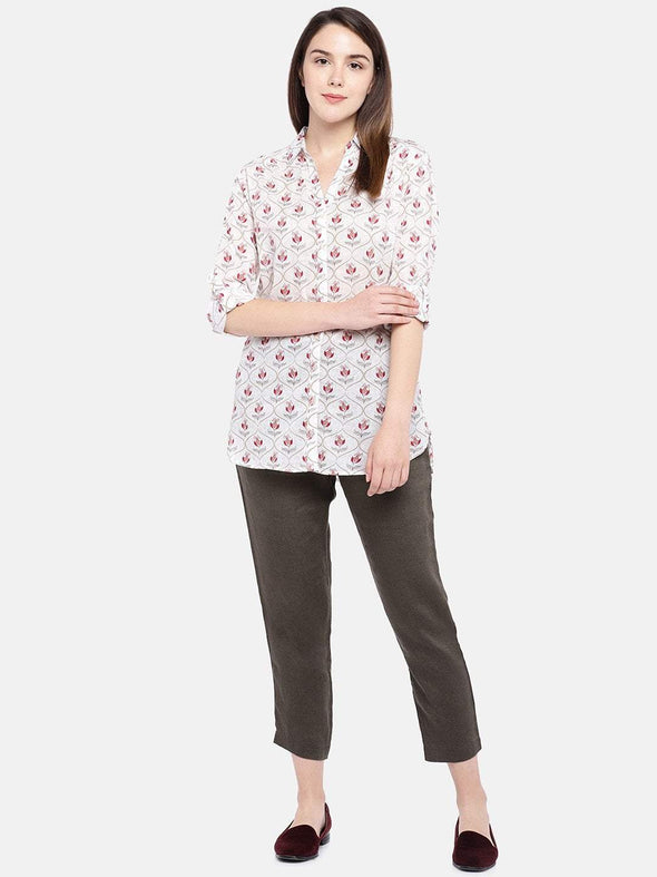 Women's Cotton Beige Regular Fit Blouse Cottonworld Women's Tops