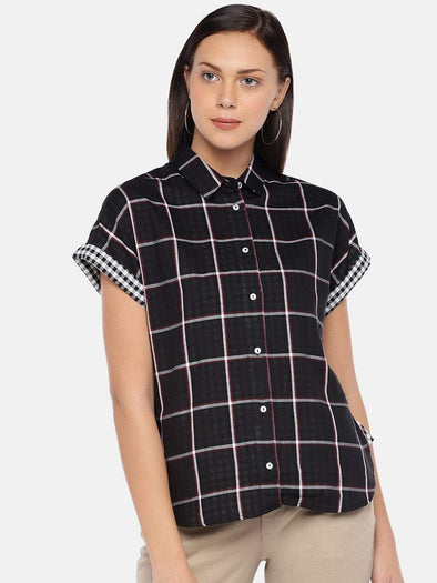 Cottonworld Women's Tops Women's Cotton Black Regular Fit Blouse
