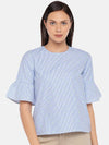 Women's Cotton Blue A Line Blouse Cottonworld Women's Tops