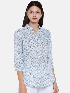 Women's Cotton Blue Regular Fit Blouse Cottonworld Women's Tops