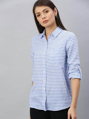 Cottonworld Women's Tops Women's Cotton Blue Regular Fit Blouse
