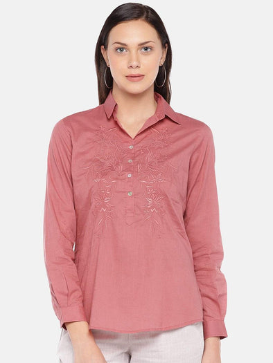 Women's Cotton Coral Regular Fit Blouse Cottonworld Women's Tops