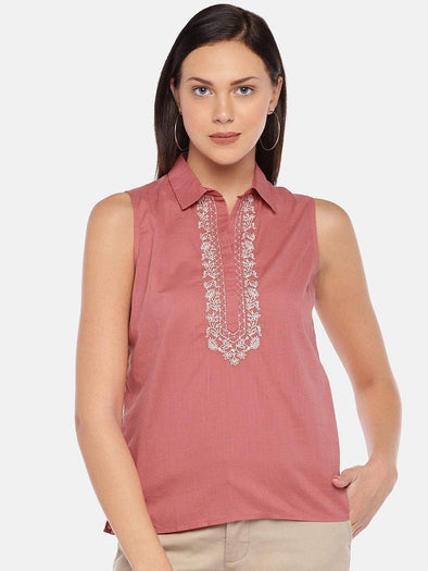 Cottonworld Women's Tops Women's Cotton Coral Regular Fit Blouse