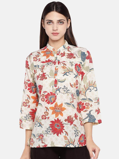 Women's Cotton Cream Regular Fit Blouse Cottonworld Women's Tops