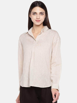 Cottonworld Women's Tops Women's Cotton Excel Linen Beige Regular Fit Blouse