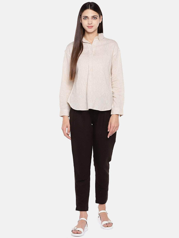 Women's Cotton Excel Linen Beige Regular Fit Blouse Cottonworld Women's Tops