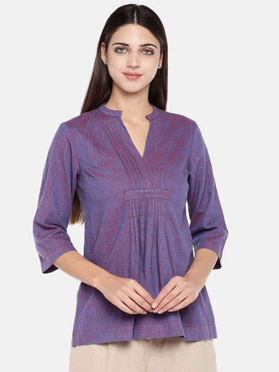 Women's Cotton Excel Linen Purple Regular Fit Blouse Cottonworld Women's Tops