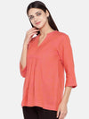 Women's Cotton Excel Linen Red Regular Fit Blouse Cottonworld Women's Tops