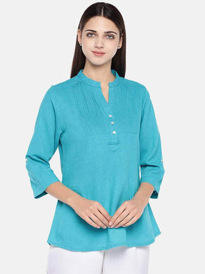 Cottonworld Women's Tops Women's Cotton Excel Linen Teal Blue Regular Fit Blouse