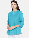 Women's Cotton Excel Linen Teal Blue Regular Fit Blouse Cottonworld Women's Tops