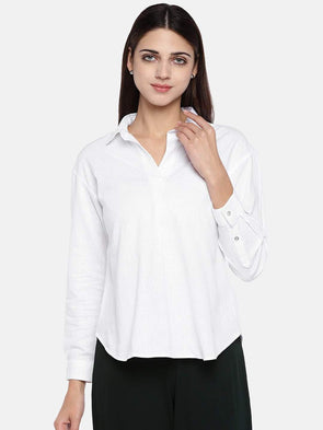 Cottonworld Women's Tops Women's Cotton Excel Linen White Regular Fit Blouse