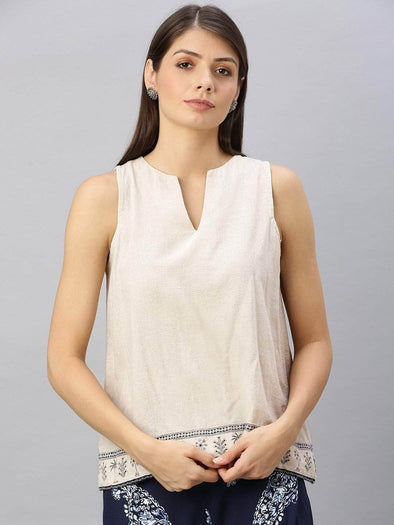 Women's Cotton Flax Beige Regular Fit Blouse Cottonworld Women's Tops