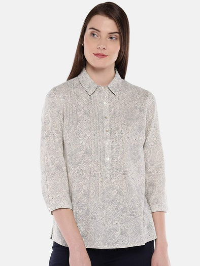 Cottonworld Women's Tops Women's Cotton Flax Natural Regular Fit Blouse