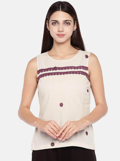 Women's Cotton Flax Natural Regular Fit Blouse Cottonworld Women's Tops