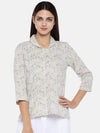 Women's Cotton Flax Navy Regular Fit Blouse Cottonworld Women's Tops