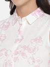 Women's Cotton Flax Woven Pink Regular Fit Blouse Cottonworld Women's Tops