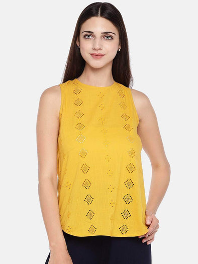 Cottonworld Women's Tops Women's Cotton Mustard Regular Fit Blouse