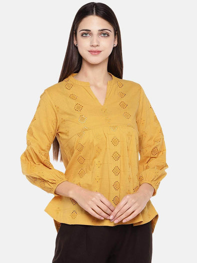 Women's Cotton Mustard Regular Fit Blouse Cottonworld Women's Tops