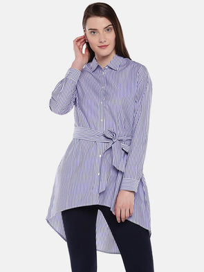 Women's Cotton Navy Regular Fit Blouse Cottonworld Women's Tops