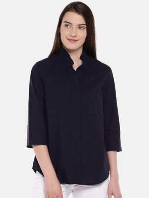 Women's Cotton Navy Regular Fit Shirt Cottonworld Women's Tops
